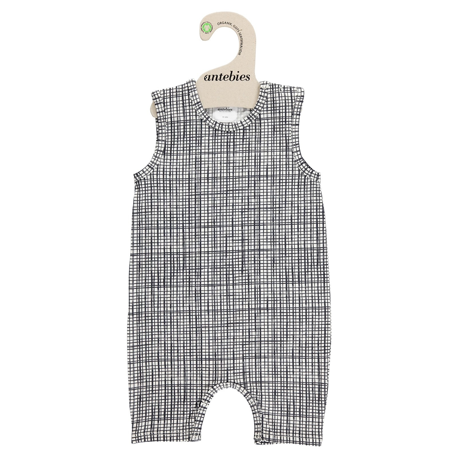 Ebebek Antebies Organic Checkered Baby Boy Sleeveless Short Romper