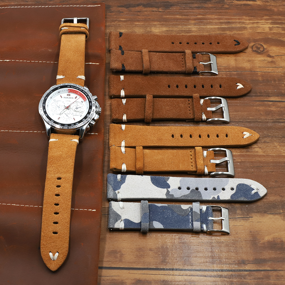 Genuine Suede Leather Watch Strap 18 20 22 24mm Brown Coffee Camouflage Watch Bands Men's Watch Band Accessories