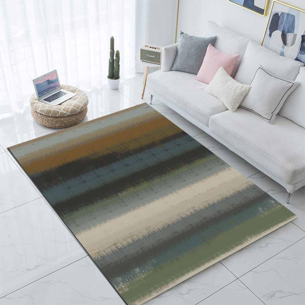 Else Gray Blue Brown Mixed Color Nordec 3d Print Non Slip Microfiber Living Room Modern Carpet Washable Area Rug Mat