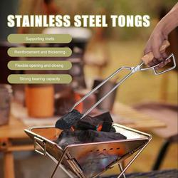 Stainless Steel Tongs Durable Convenient Charcoal Clip Tool Camping Equipment Carabiner