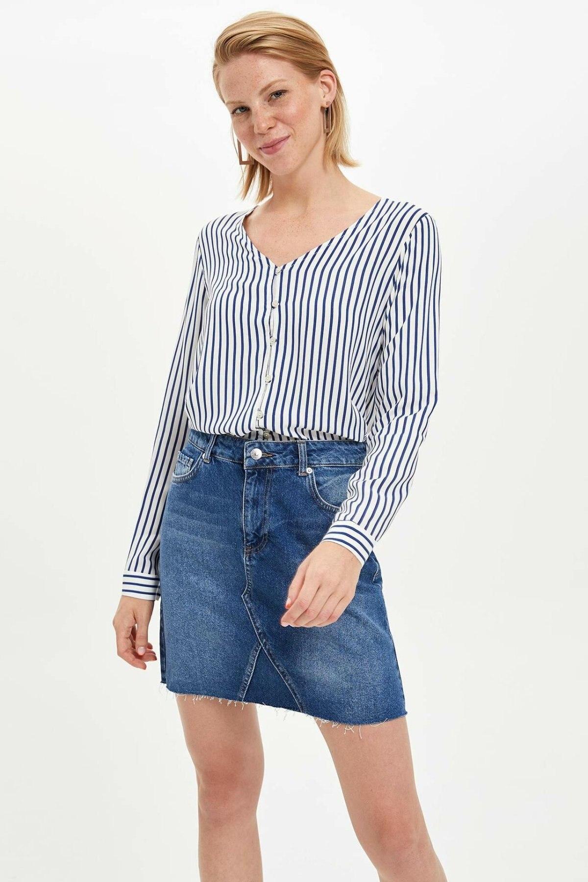 DeFacto Fashion Woman Denim Skirt Female Casual Pockets A-line Skirts Comfort High Quality Ladies Shorts Summer - L3592AZ19AU