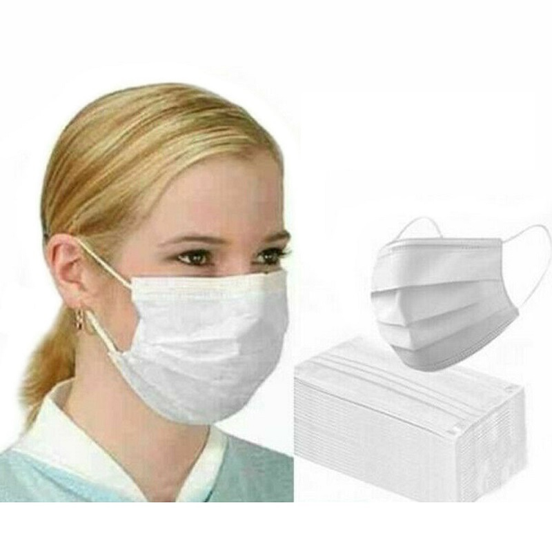 50Pcs Disposable Masks White  3 Layers Anti-Dust Dustproof Earloop Face Mouth Masks Facial Cover Mask