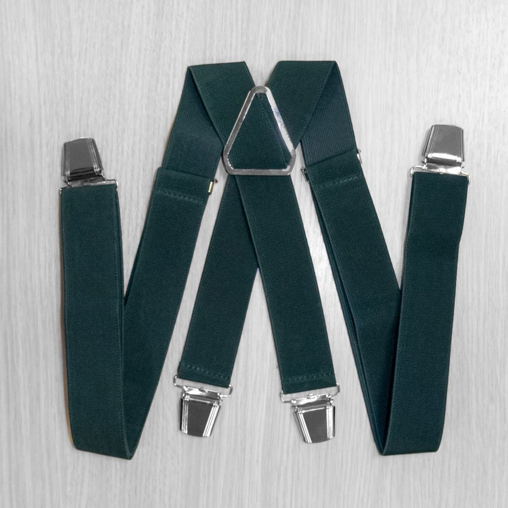 Pants Suspenders With Reinforced Clips (3.5 Cm, 4 Clips, Green) 54767