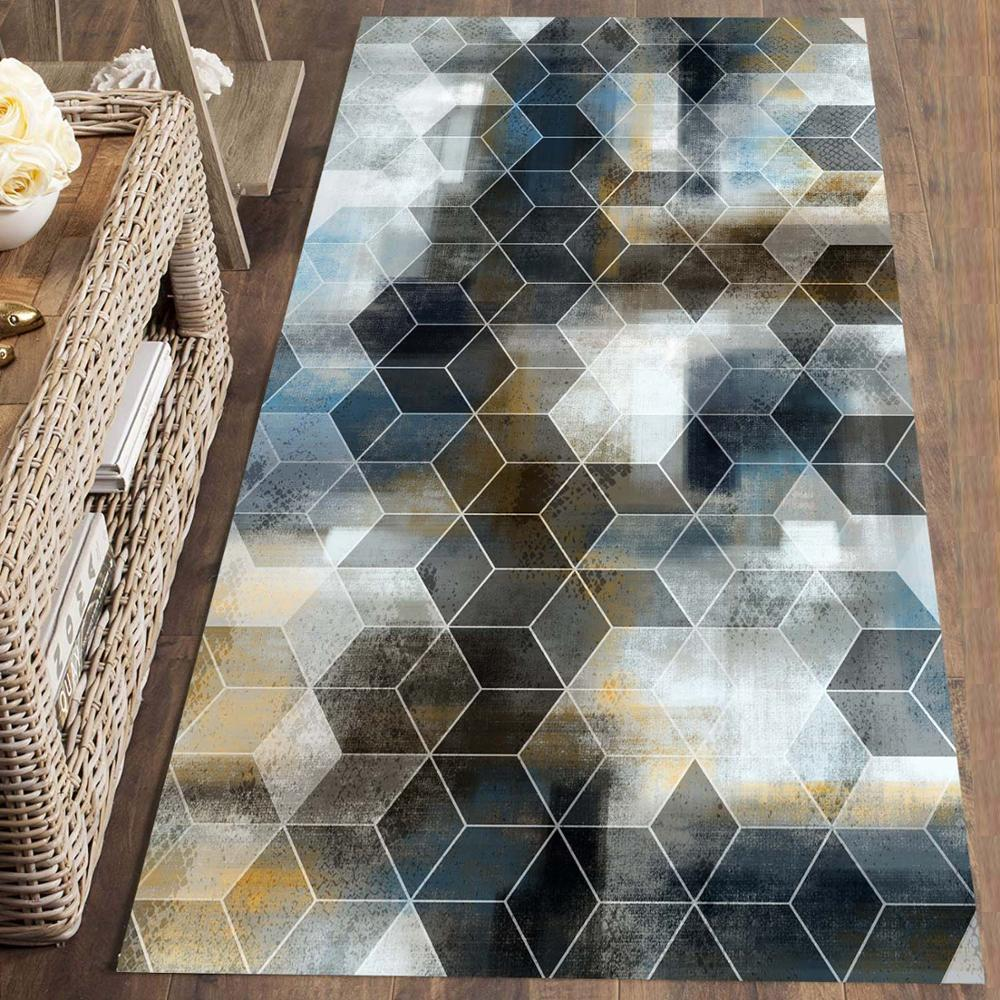 Else Brown Blue Yellow Geometric Watercolor 3d Print Non Slip Microfiber Washable Long Runner Mat Floor Mat Rugs Hallway Carpets