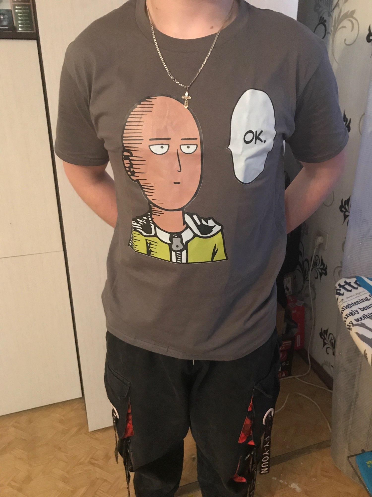 One Punch Man Japanese Anime T Shirt Harajuku Fashion Mens Plain T Shirts Premium Cotton Camisas Hombre Men Tshirt photo review