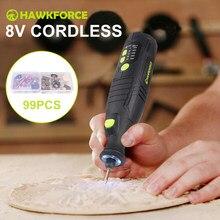 8v li-ion ferramenta rotativa sem fio 5 velocidade 4 luzes led hawkforce elétrica recarregável mini broca gravura moedor ferramentas elétricas