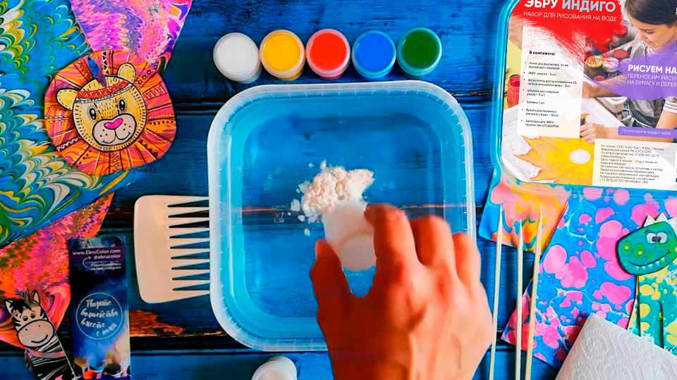 Enfants à base d'eau art peinture ensemble marbrure peinture Kit peinture à la main sur l'eau Art créatif ensemble de 6 couleurs peinture acrylique - 4