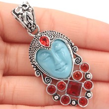 SheCrown Special 13.2g Blue Turquoise Goddess Face Red Blood Ruby Gift For Ladies Silver Pendant 57x23mm