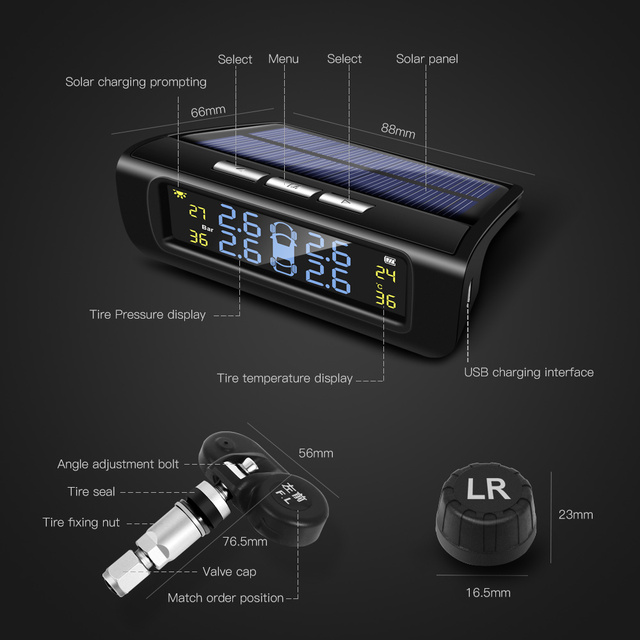 Reifen Druck Echtzeit Überwachung System TPMS Auto Reifendruck Alarm 4PCS Sensor Solar USB Lade Auto Reifen Explosion beweis