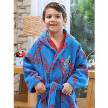 Boy Bathrobe Set Superman Blue Set 7/8 9/10 11/12 YEARS -Hooded Kids Bathrobe