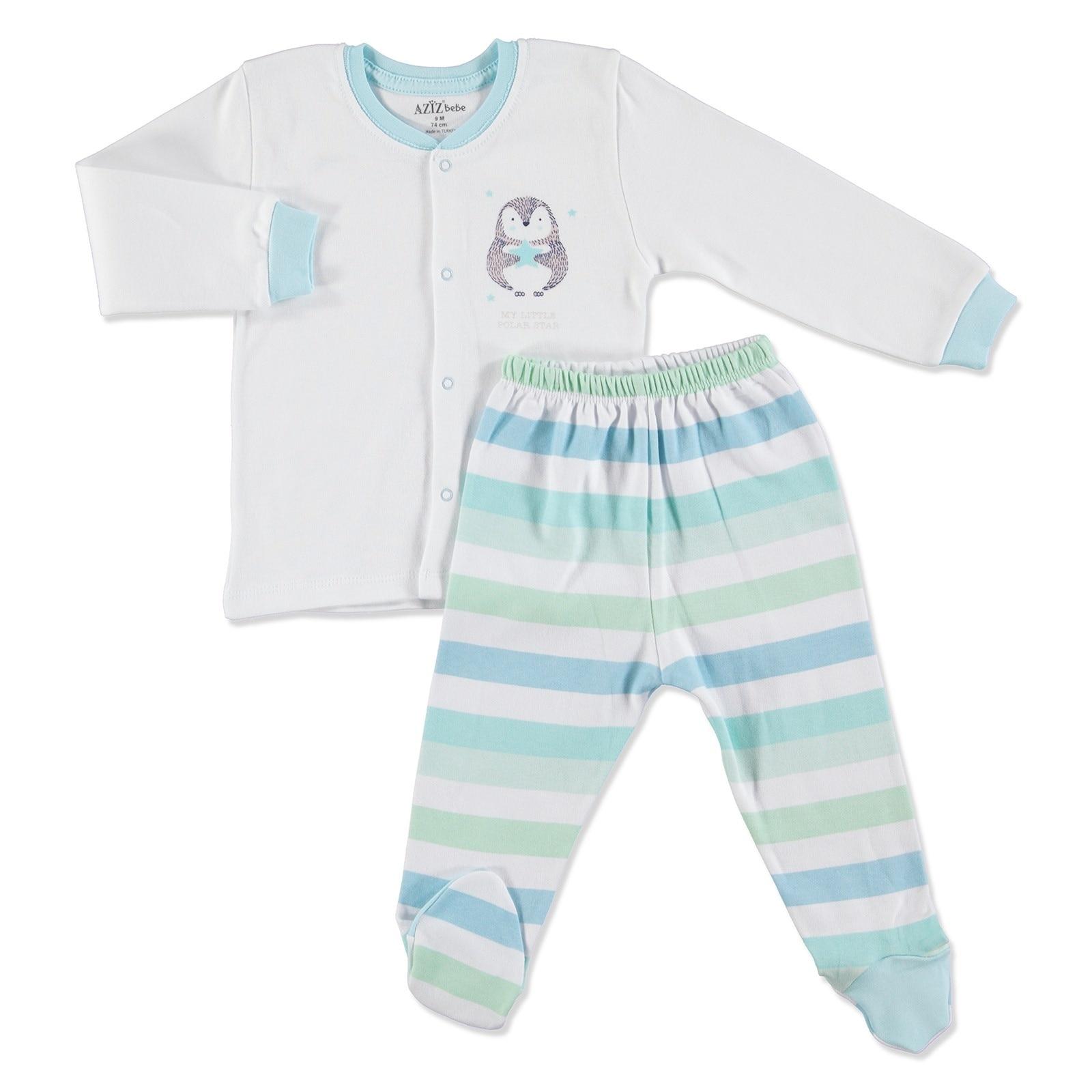 Ebebek Aziz Bebe Stars Baby Snaps Cardigan Footed Pants 2 Pcs