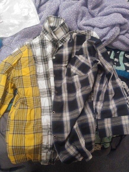 Kpop  Plaid Shirt Women Bangtan Boys Suga Blouse Korea Fashion Plus Size Casual Spring Autumn Splice Shirts photo review