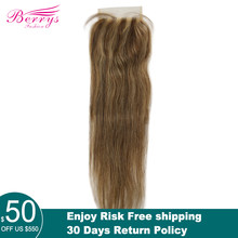 Straight Transparent Lace Closure 4X4 Free Part With Baby Hair PrePlucked Brazilian Straight Closure Virgin Hair #04 Piano Color(China)