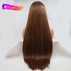 Image 2 - חידוש התיכון חלק 13x4 תחרה סינתטית פאות עבור נשים ארוך חום צבע #8 ישר שיער פאה חום עמיד פאות
