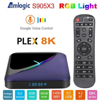A95X F3 światło RGB TV pudełko procesor Amlogic S905X3 Android 9 0 4GB 32GB 64GB obsługuje podwójny Wifi 4K 75fps Youtube Plex odtwarzacz multimedialny A95XF3 tanie i dobre opinie GTMEDIA NONE 100 M CN (pochodzenie) RK3399 Dual-core M65 + Quad Core 64-bit 64 GB eMMC HDMI 2 0 4G DDR3