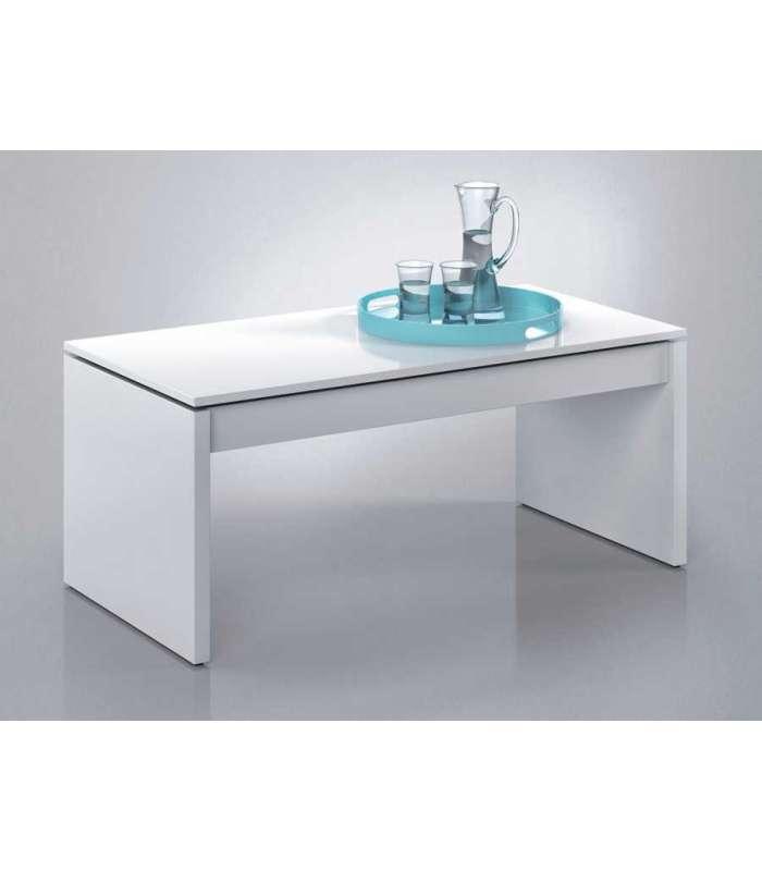 Center Table Liftable White Luster