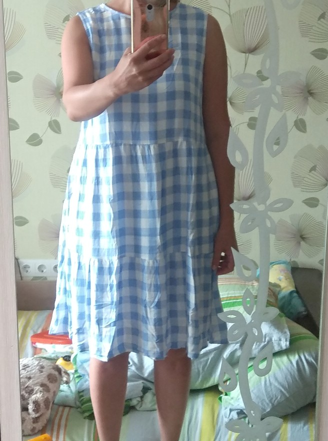 Summer Loose Plaid Dress Women Casual Cotton O-neck Patchwork Sleeveless Dress 2020 NEW