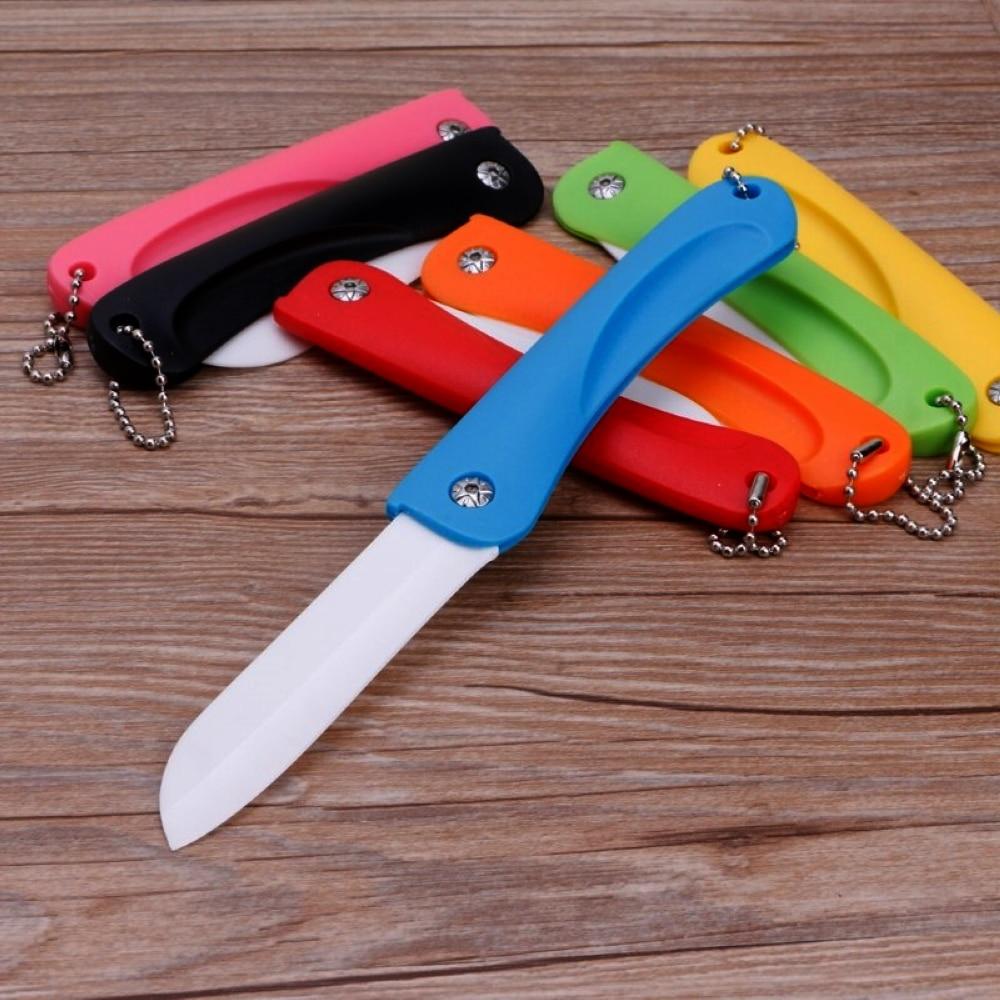 세라믹 접는 껍질 벗기기 칼 부엌 과일 야채 슬라이스 껍질 도구 항균 블레이드 키 체인 여행 칼 낚시 도구
