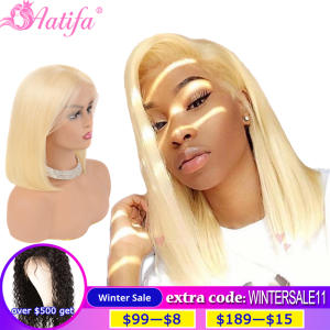 Human-Hair-Wigs Short Bob Lace-Front Pink Brazilian Blonde Hairline Pre-Plucked Natural