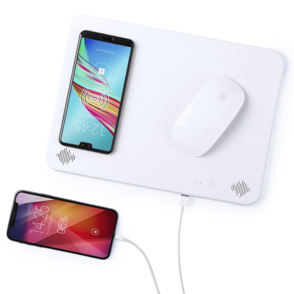 Mat with Qi Wireless Charger Bluetooth 4000 mAh 2W White 146126|Mouse Pads|   - title=