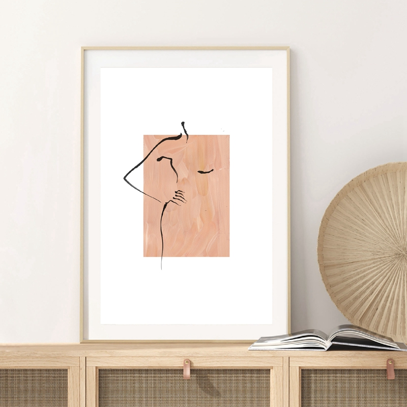 Abstract Female Figure Line Drawing Prints Home Decor