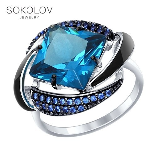 Ring. Sterling Silver With Enamel Blue ситаллом And Blue Cubic Zirconia Fashion Jewelry 925 Women's Male