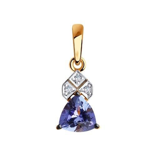 Pendant SOKOLOV Gold With Diamonds And Tanzanite Fashion Jewelry 585 Women's Male