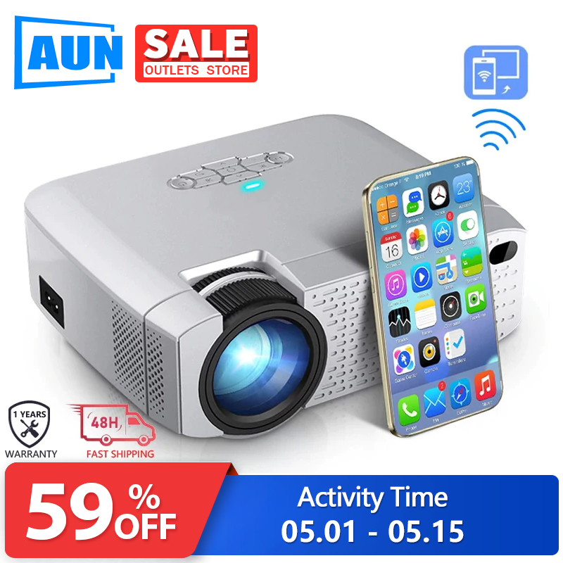 AUN LED Mini Projector D40W .1600 Lumens, Support HD, Wireless Sync Display For Mobile Phone.WiFi Projector For Home Cinema