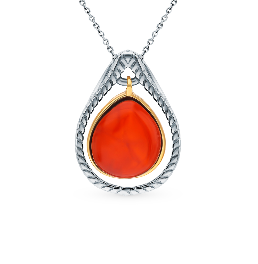 Silver Pendant With Amber Sunlight Sample 925