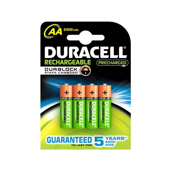 Rechargeable Batteries DURACELL AA NiMh 2400 MAh (4 Pcs)