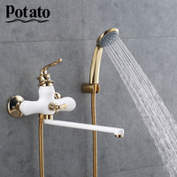 Potato Chrome Bath shower faucet hot and cold water Outlet pipe bathroom taps with ABS shower head 3 colors p22219