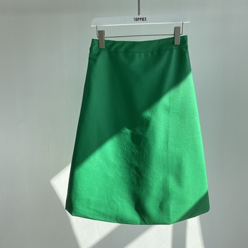 Toppies 2021 New Women's PU Leather Skirt Solid High Waist A-line Skirts Casual Fashion Elegant Leather faldas saia