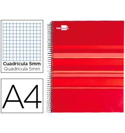 SPIRAL NOTEBOOK LEADERPAPER A4 MICRO CLASSIC LINED TOP 160H 60 GR TABLE 5MM 5 BANDS 4 HOLES RED