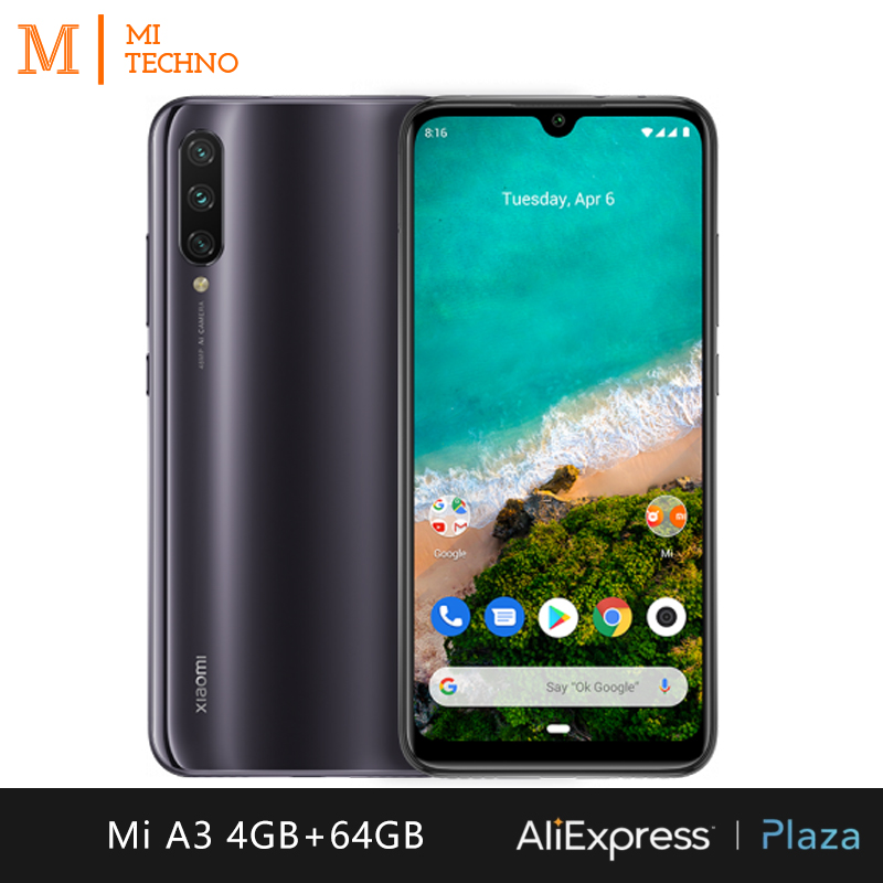 Xiaomi Mi A3 Smartphone (4GB RAM, 64GB ROM, phone mobile, free, new, cheap, battery 4030 mAh, Andriod one) [Global Version]