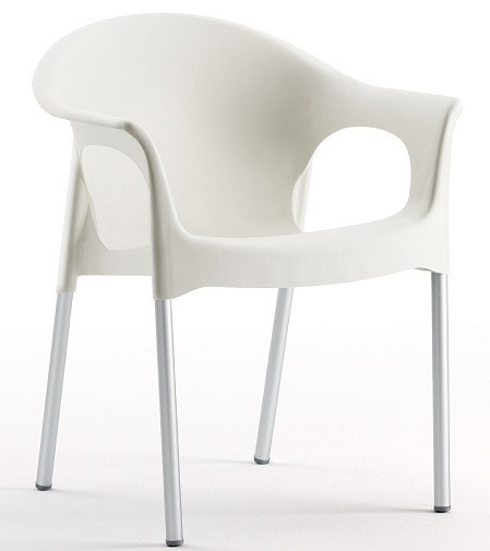 Armchair NILE Aluminum Stackable White Polypropylene