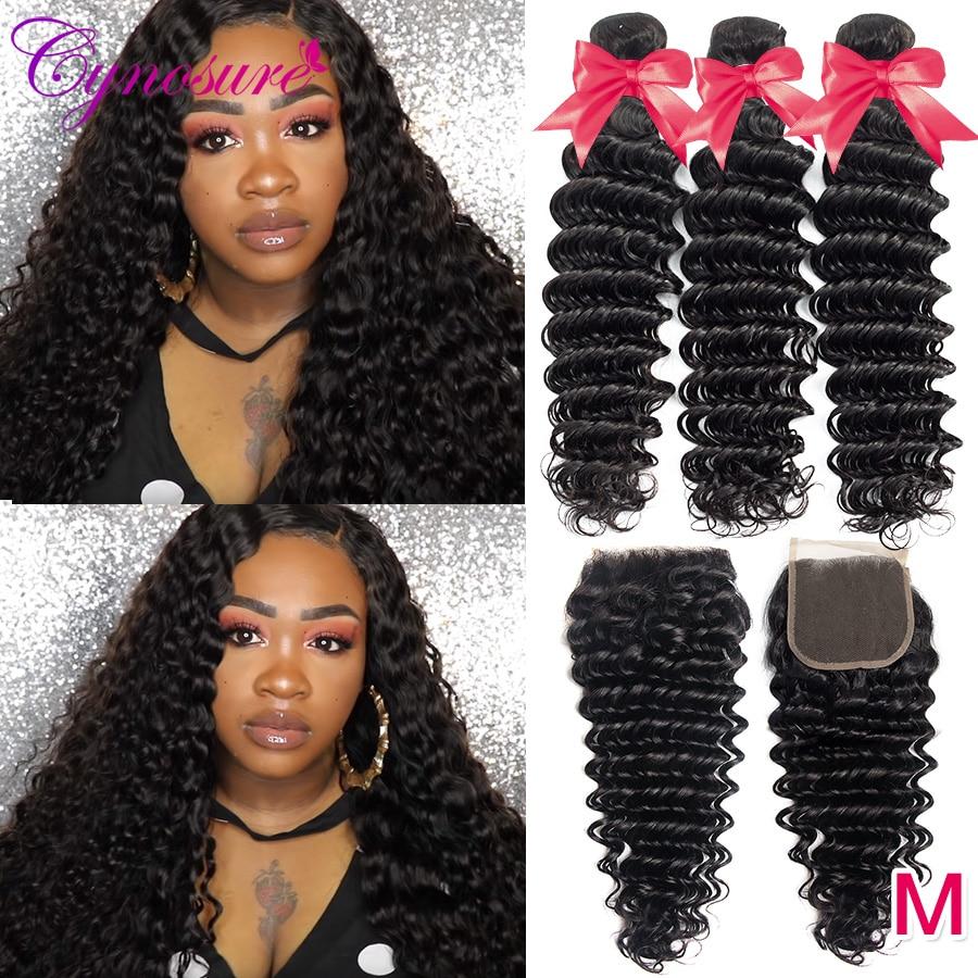 Cynosure Deep Wave Bundles with Closure Remy Human Hair 3 Bundles with Closure Brazilian Hair Weave Innrech Market.com