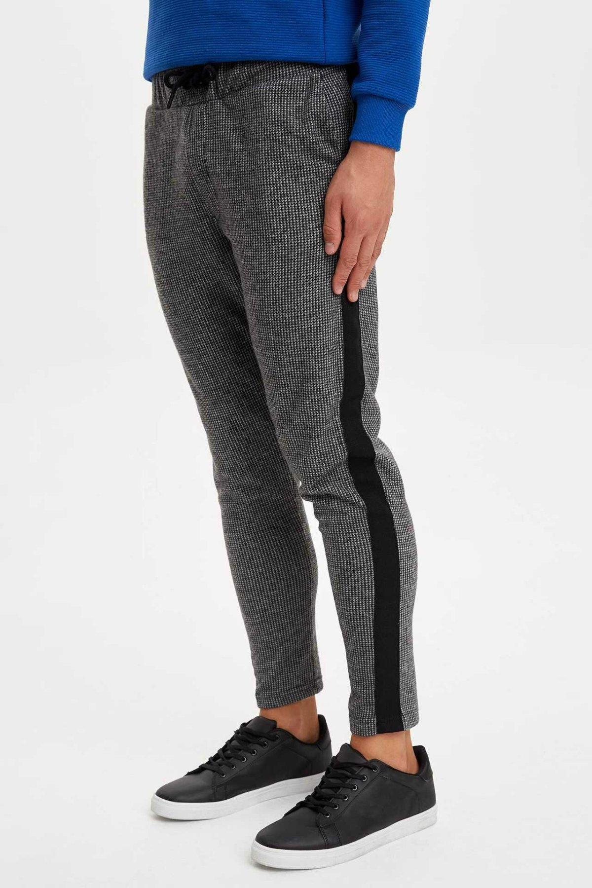 DeFacto Fashion Men's Sport Pant Men's Striped Casual Drawstring Pants Leisure Cotton Long Pants Sweatpants Male - L2900AZ19WN