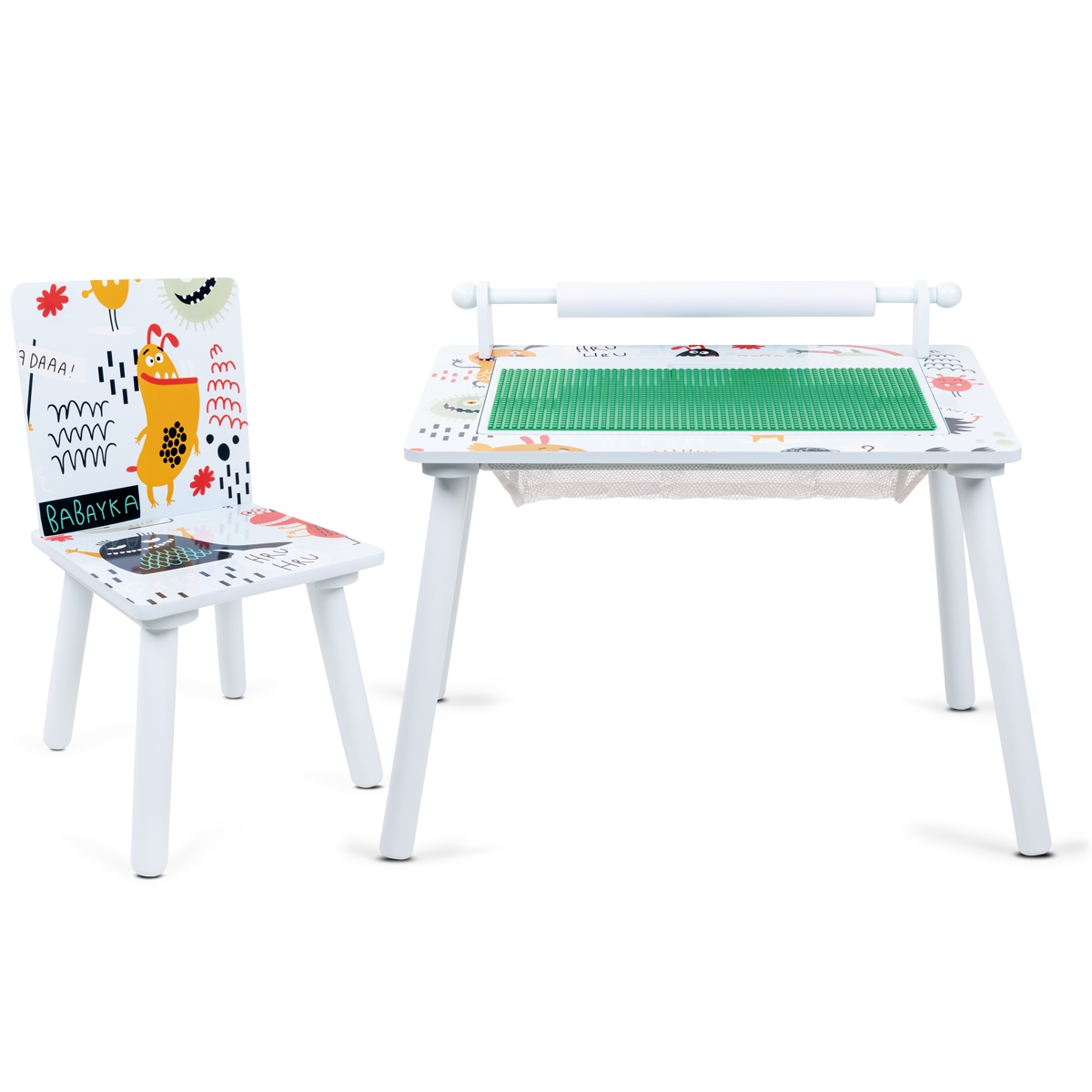 Table's Kids Games Child Wood Green Build And Play Children With 1 Chair