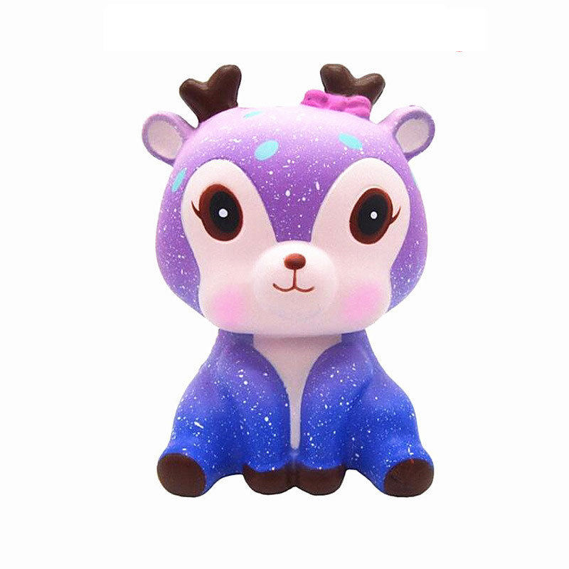 Squishy Rebound Kids Decompression Toy Ice Cream Colorful Cat Soft Cute Squeeze Toy Starry Sky Deer Blue Fat Decompression Toy