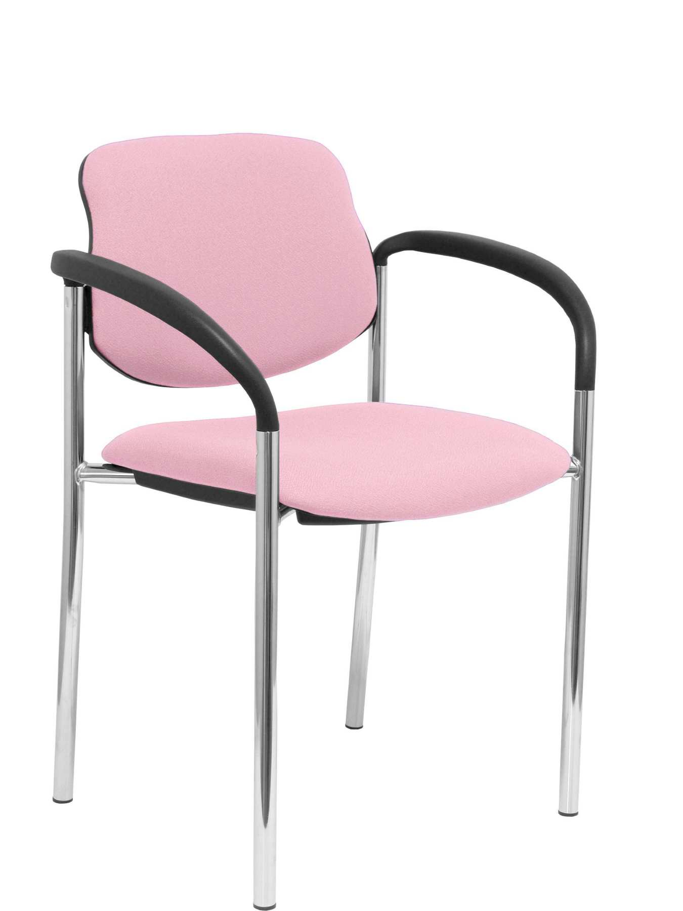 Confident Chair 4-leg And Estructrua Chrome Arms-Seat And Back Upholstered In Fabric BALI Pink PIQ