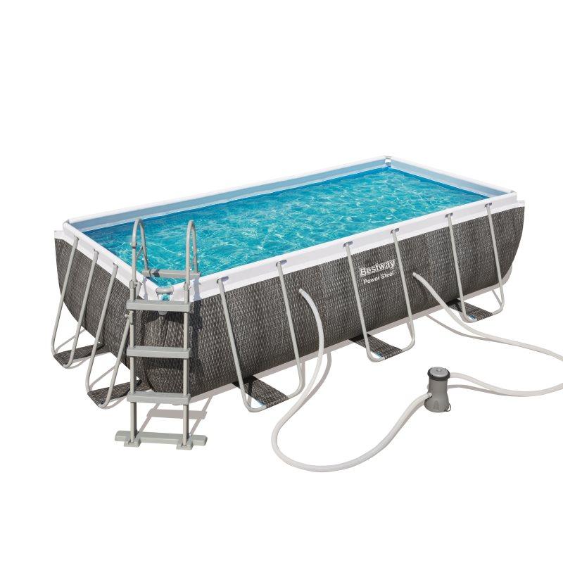 Bestway Removable Pool Tubular Power Steel Design Rattan 404 Cm X 201 Cm X 100 Cm-56721-