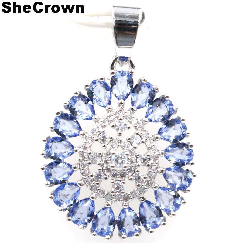 31x20mm European Style Created New Stone Iolite Natural White CZ Ladies Party Silver Pendant