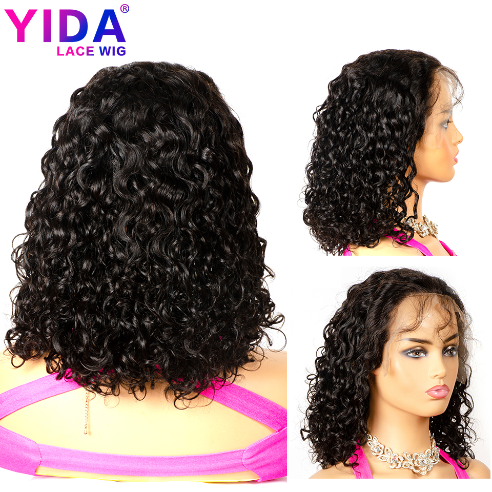 Bob curto 13x6 perucas dianteiras do laço pré arrancadas com o cabelo do bebê onda de água brasileira perucas do cabelo humano 150% densidade remy yida cabelo