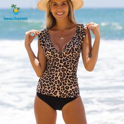 2021 Novo conjunto regata de ombro com babado estampado de leopardo Fatos de banho femininos duas peças Trajes de banho de praia femininos