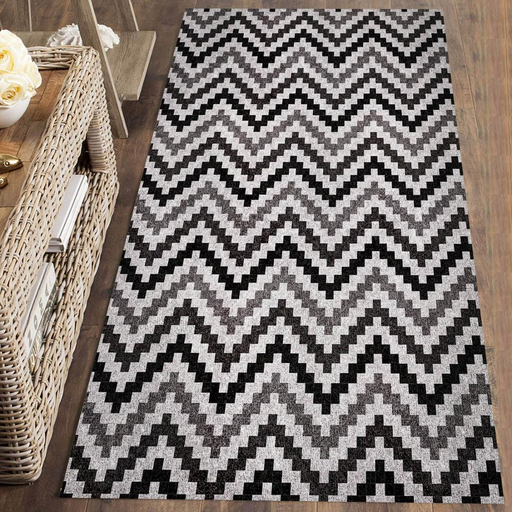 Else Black Gray Zigzag Lines Stripes Nordec 3d Print Non Slip Microfiber Washable Long Runner Mat Floor Mat Rugs Hallway Carpets