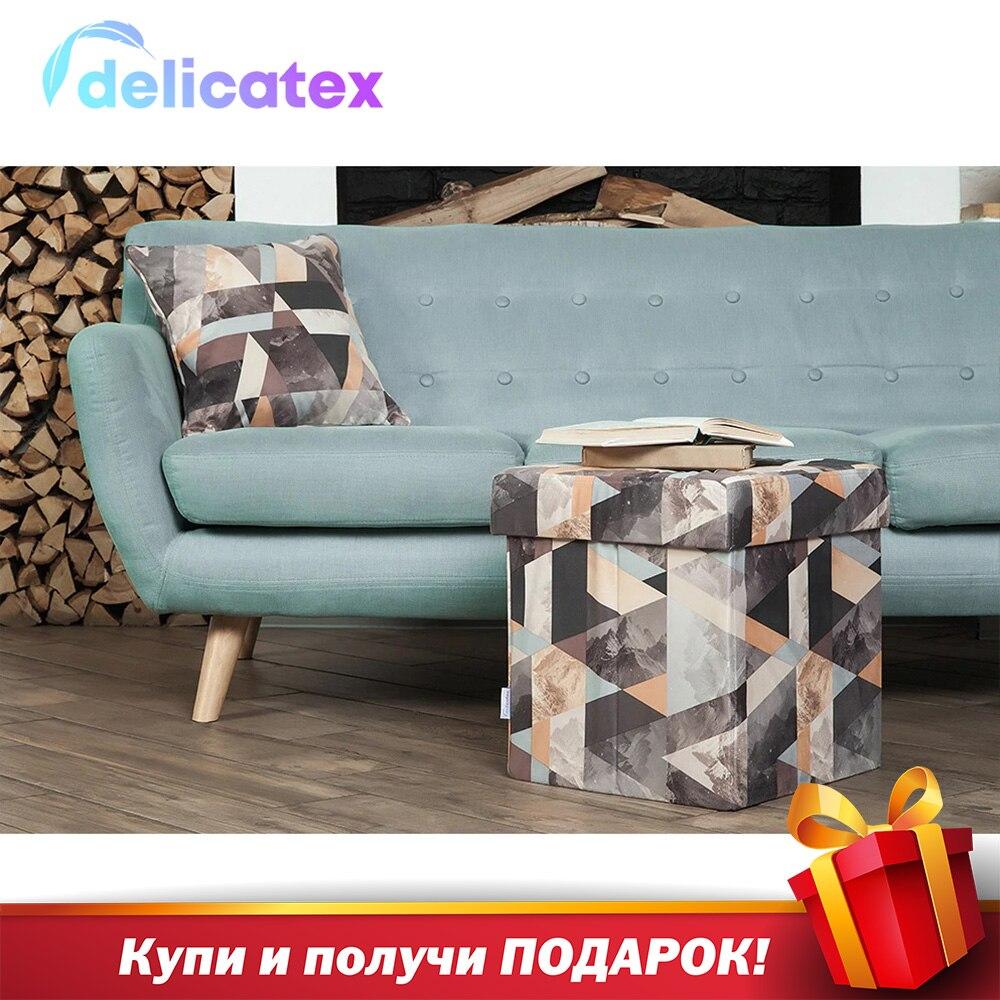 Мягкий складной пуф Delicatex Дели, коробка для хранения с крышкой, пуфик для детей, подставка для ног, мебель для гостиной