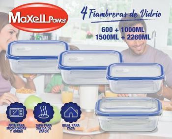 SILBERTHAL Set de 3 recipientes de cristal para alimento Envases de cristal con tapa de acero inoxidable Fiambrera cristal