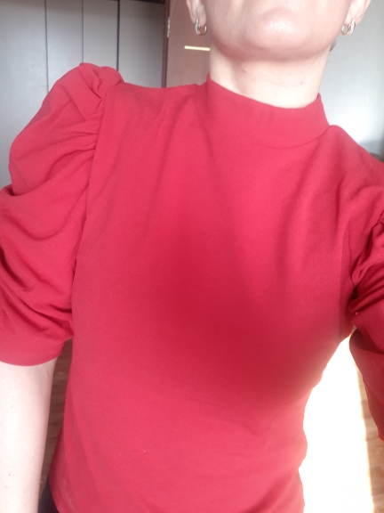 Elegant Red Puff Sleeve Blouse Women Summer Half Sleeve Keyhole Back Blouses Ladies Solid Basic Minimalist Top photo review