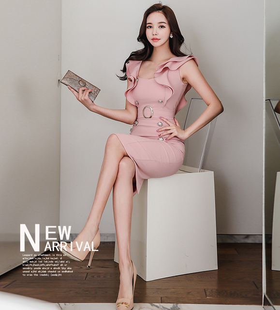 2021 summer women's dress, Korean version, slim fit, ruffle, double breasted, buttocks, thin, medium and long bottomed dress 5