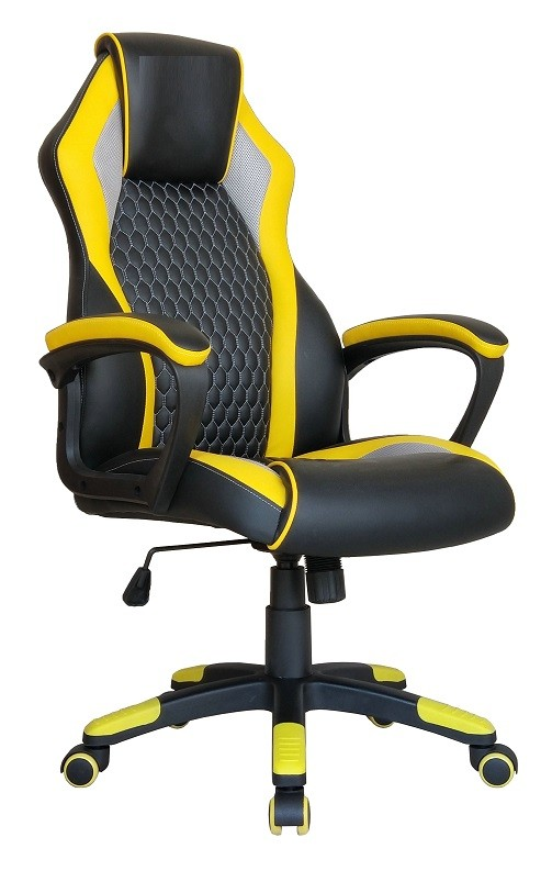 Office Armchair LOSAIL, High, Gas, Rocker, Combined Black Yellow